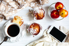 Breakfast muffins and coffee Stock Image