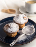 Breakfast with muffins with powdered sugar on dark blue plate. Royalty Free Stock Photography