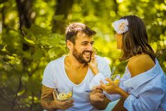 Breakfast in nature beautiful start of day. Young couple. Close royalty free stock photo