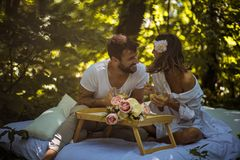 Breakfast in nature . Couple relationship. Breakfast in nature . Couple enjoy in love. Spring season stock photo