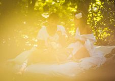 Breakfast in nature . Couple relationship. Spring season royalty free stock photos