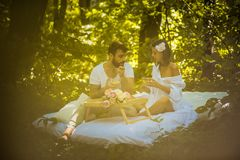 Breakfast in nature . Couple relationship. Spring season stock photography