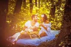 Breakfast in nature . Couple relationship goals. Spring season stock photo