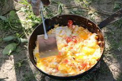 Scrambled egg fried on coals in pan on open fire, cook over an open fire Royalty Free Stock Image