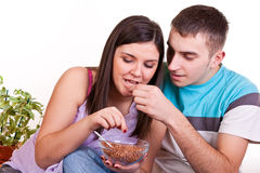 Breakfast in new apartman Royalty Free Stock Images