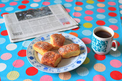 Breakfast and newspaper Royalty Free Stock Photography