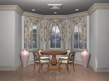 Breakfast Nook. Modern furniture in the breakfast nook of a suburban home.  Computer Generated Image, 3d models Royalty Free Stock Photo