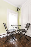 Breakfast nook in rustic house stock images