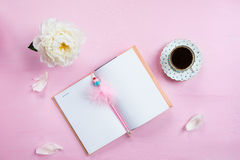 Breakfast with Notebook, Coffee and Good Mood Royalty Free Stock Image