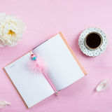Breakfast with Notebook, Coffee and Good Mood Royalty Free Stock Images