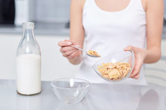 Breakfast of oak flakes and milk. Royalty Free Stock Image