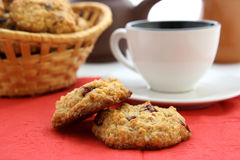 Breakfast with oaten cookies. On a red napkin Stock Photo