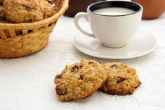 Breakfast with oaten cookies and cup of milk Royalty Free Stock Images
