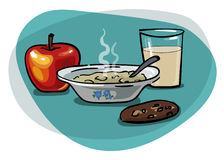 Breakfast with oatmeal and apple. Healthy breakfast with homemade oatmeal, milk and apple, vector drawing Royalty Free Stock Image