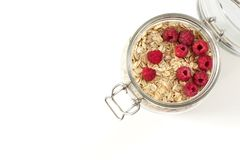 Oatmeal with berries in a jar Royalty Free Stock Photo