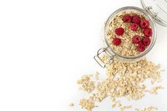 Oatmeal with berries in a jar Stock Photography