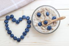 Breakfast of oatmeal with blueberries as a symbol of the heart Stock Photo