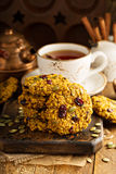 Breakfast cookies with pumpkin puree, cranberry and seeds Stock Images