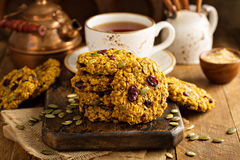 Breakfast cookies with pumpkin puree, cranberry and seeds Stock Image