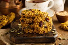 Breakfast cookies with pumpkin puree, cranberry and seeds Royalty Free Stock Photos