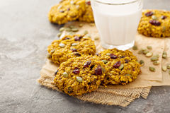Breakfast cookies with pumpkin puree, cranberry and seeds Stock Photography
