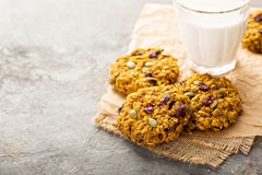 Breakfast cookies with pumpkin puree, cranberry and seeds Royalty Free Stock Photography