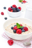 Breakfast - oatmeal with fresh berries Royalty Free Stock Image