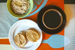 Breakfast - oatmeal, peanut butter sandwiches Stock Images