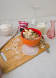 Breakfast oatmeal porridge with bananas, seeds and nuts Royalty Free Stock Photos