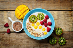 Breakfast oatmeal porridge with kiwi, mango, raspberry, banana Stock Photos
