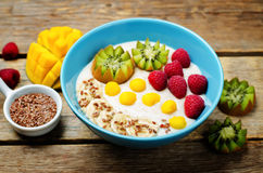 Breakfast oatmeal porridge with kiwi, mango, raspberry, banana  Stock Images
