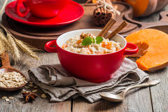 Breakfast oatmeal porridge with pumpkin Royalty Free Stock Images
