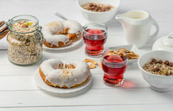 Breakfast with oats, apple chips, glazed croissant royalty free stock photography