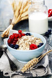 Breakfast with oats and berries Royalty Free Stock Photography