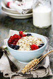 Breakfast with oats and berries Stock Photo