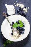 Breakfast with oats and berries Stock Images