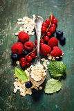Breakfast with oats and berries Royalty Free Stock Photos