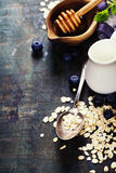Breakfast with oats and berries Royalty Free Stock Images