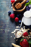 Breakfast with oats and berries Royalty Free Stock Image