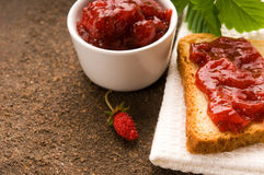 Breakfast Of Cherry Jam On Toast Stock Images