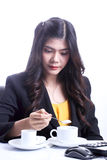 Breakfast in office woman Stock Photography
