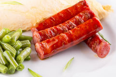 Breakfast with omelet, asparagus and sausages Royalty Free Stock Photos