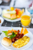 Breakfast with omelet Royalty Free Stock Photos