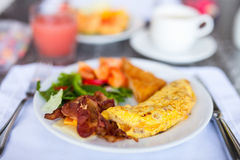 Breakfast with omelet Royalty Free Stock Photography