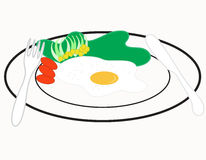 Breakfast. The breakfast omelet on white background Royalty Free Stock Photos