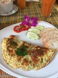 Breakfast omelette at Blue Diamond Cafe in Chiangmai Thailand stock image