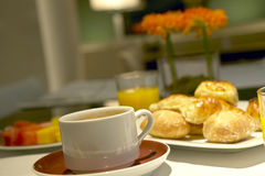 Breakfast for one in a Hotel interior Royalty Free Stock Photos