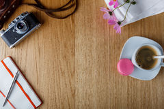Breakfast with open diary, background with place for an inscript Stock Photos