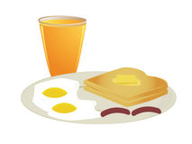Breakfast with orange juice. A plate of toast with sunny side eggs and sausage with a glass of orange juice stock illustration