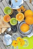 Breakfast with orange juice Royalty Free Stock Images